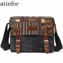 Atinfor sacoches en toile pour hommes, Vintage National décontracté, petits sacs à bandoulière carrés