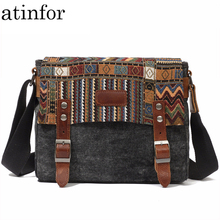 atinfor Brand Vintage National Casual Canvas Messenger Bags Men Square Small Crossbody Bags