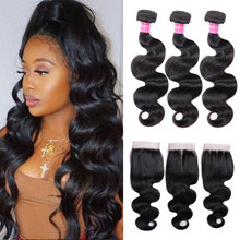Body Wave Bundles With Closure Brazilian Hair Weave Bundles With Closure Remy Human Hair Bundles With Closure Mstoxic(China)