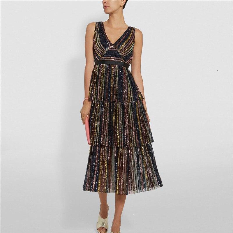 Лоскутное расшитое блестками Полосатое вечернее платье для женщин, v-образный вырез, без рукавов, высокая талия, ниспадающие оборки, женское...