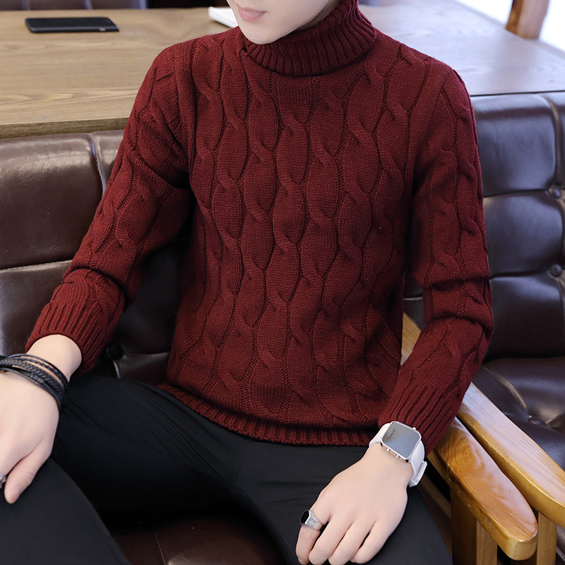 Long Sleeves Winte Sweater Men White Black Grey Navy Blue Brown Red Pullovers Casual Turtleneck Solid Mens Sweaters New