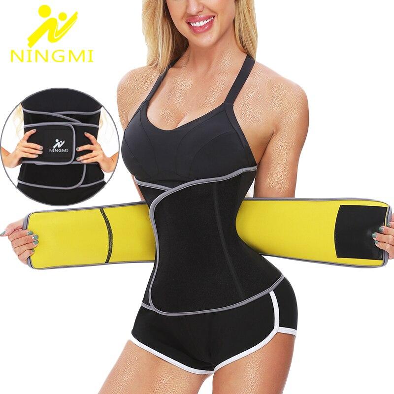NINGMI Slimming Shapewear Waist Trainer Slim Body Shapers Women Weight Loss Waist Cincher Neoprene Sauna Strap Corset Sports Top