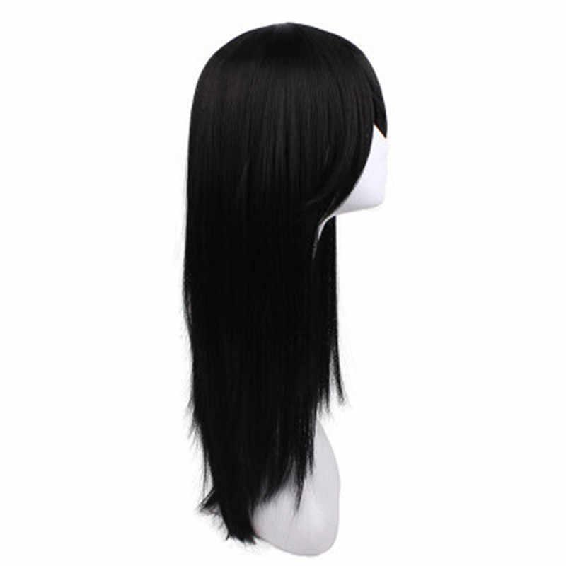 Orochimaru 60 Cm/23.6 Inci Hitam Lurus Panjang Rambut Sintetis Cospaly Wig Cosplay Pesta Kostum Wig Orochimaru Hyuga Neji
