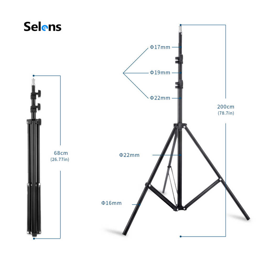 2M di Luce Del Basamento Del Treppiedi con 1/4 Testa della Vite per la Foto In Studio Softbox Video Flash Ombrello Riflettore di Illuminazione