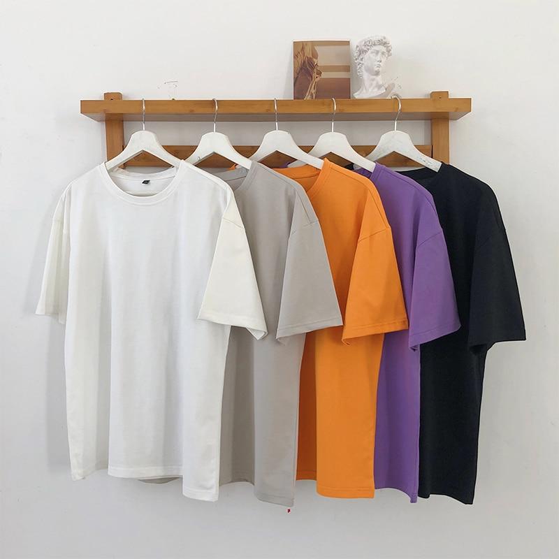 100% Cotton Tshirts Men Fashion Summer T-shirts Hip Hop Girl Blank Top Tees Streetwear Funny Tshirt Solid 4XL White Orange Black