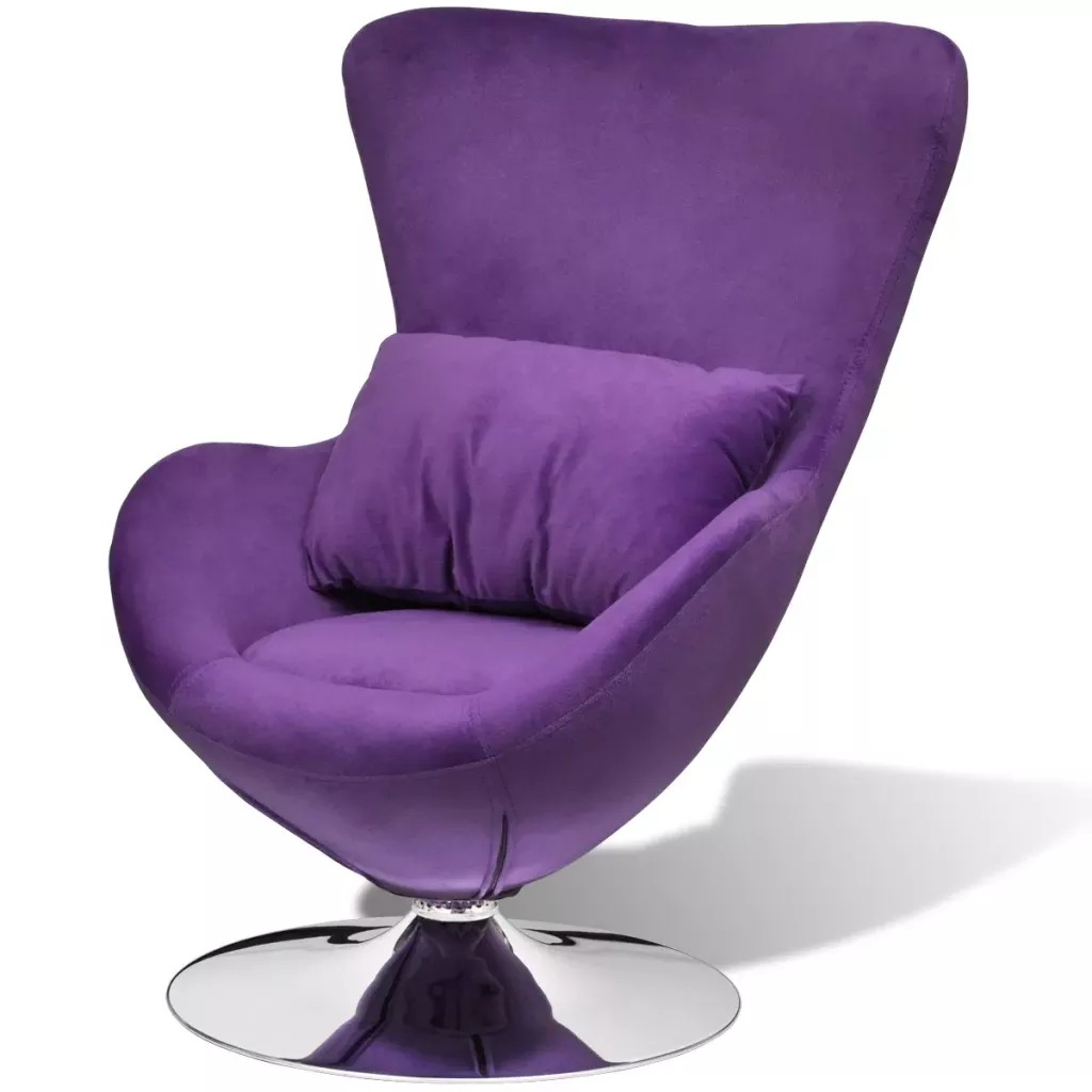 VidaXL Swivel Armchair In Egg Shape With Cushion Purple Small 241177