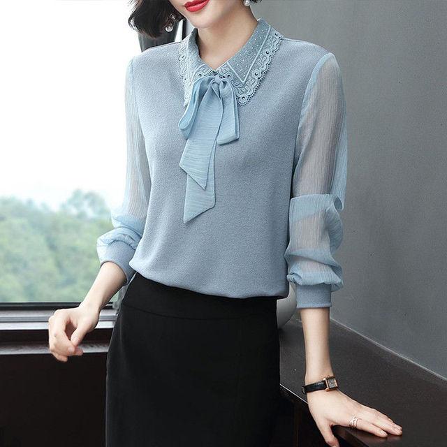Women's Spring Autumn Style Chiffon Blouses Shirt Women's Bow Long Sleeve Solid Color Korean Elegant Tops DD9028 5