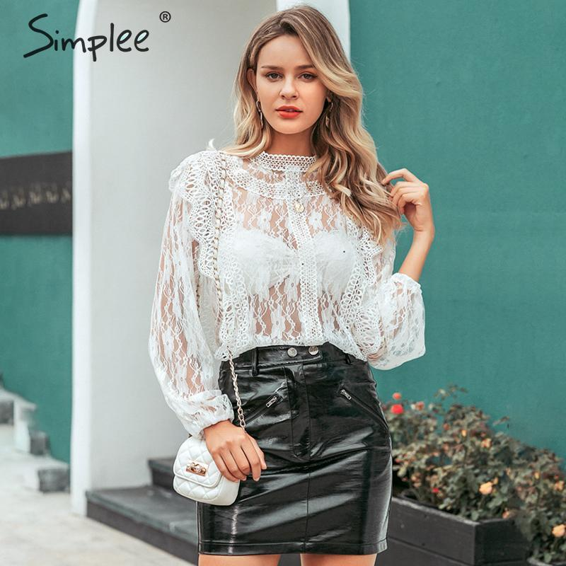 Simplee Sexy Hollow Out Lace Blouse Women Turtleneck Ruffled Floral Embroidery Female Tops Mesh Party Club Ladies Blouses Shirts