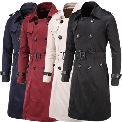 Jacket Men Trench-Coat Double-Breasted Long Outerwear Winter Belt Classic Slim Causal title=