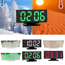 NEW Digital Alarm clock Mirror LED Electronic Clocks Multifunction Large LCD Display Digital Table Clock with Luminous Calendar