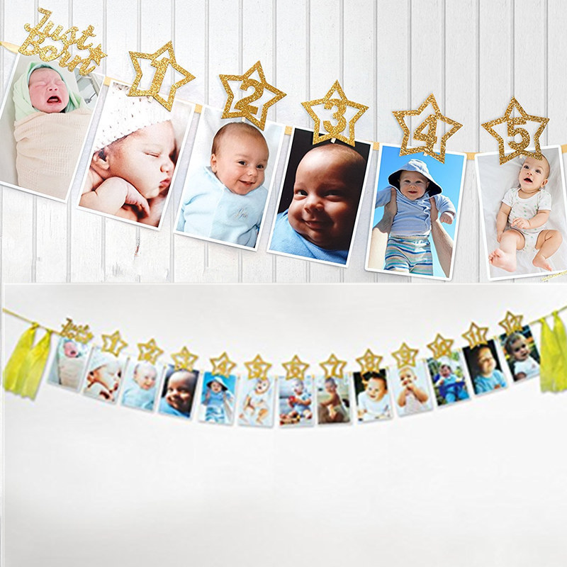 1Set Baby Photography Accessories DIY Gold Dust Star Photo Frame Banners Baby 1st Birthday Decorations Wall Photos Picture Frame