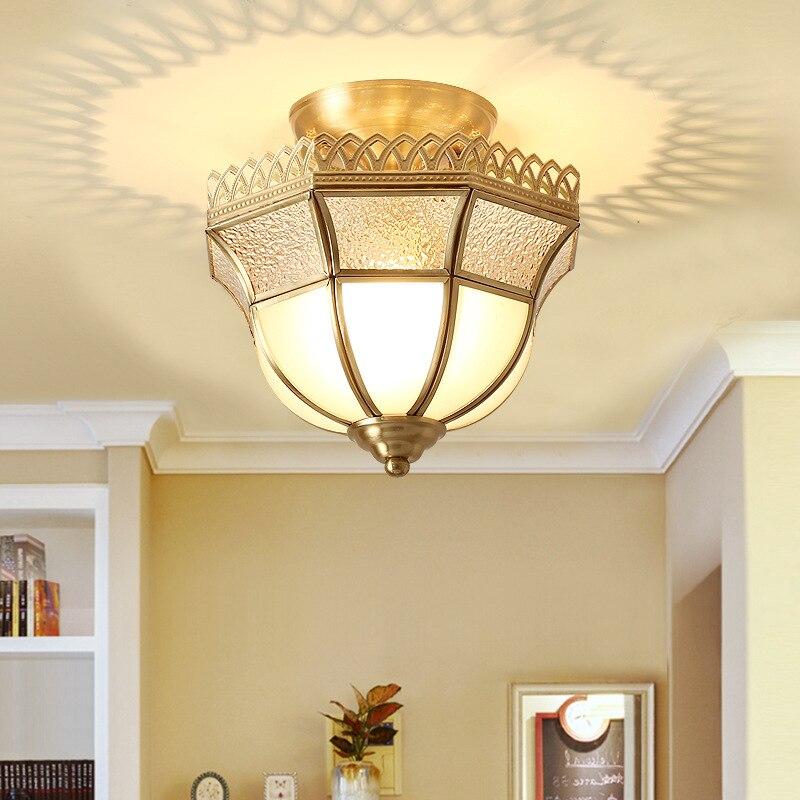 LukLoy classique cuivre plafonnier couloir rétro lumières universel E27 vis lumière Source Loft allée entrée plafonniers - 5