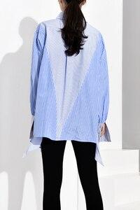 Image 5 - [Eam] feminino azul listrado assimétrico oversized blusa nova lapela manga longa solto ajuste camisa moda primavera outono 2020 jz6870
