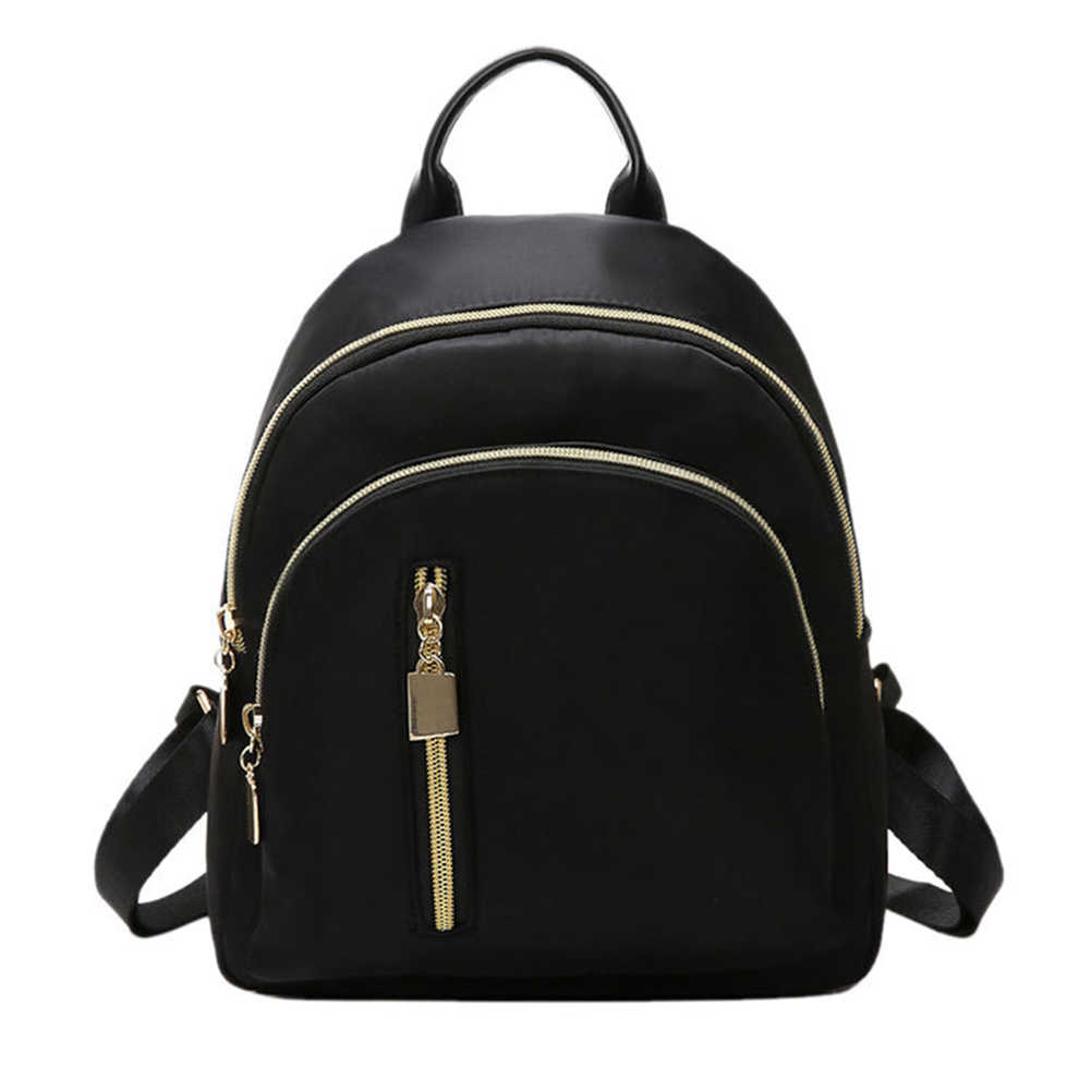Mochila preta feminina, bolsa de viagem pequena para mulheres com zíper, conjunto de bolsa escolar para adolescentes
