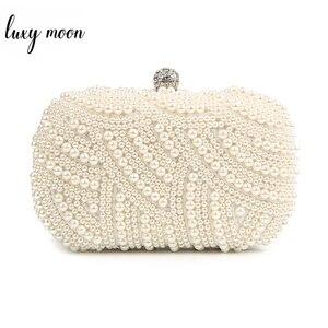Pearl Clutch Bags Women Purse Ladies white Hand Bags Evening Bags for Party Wedding black Shoulder Bag Bolsa Feminina(China)