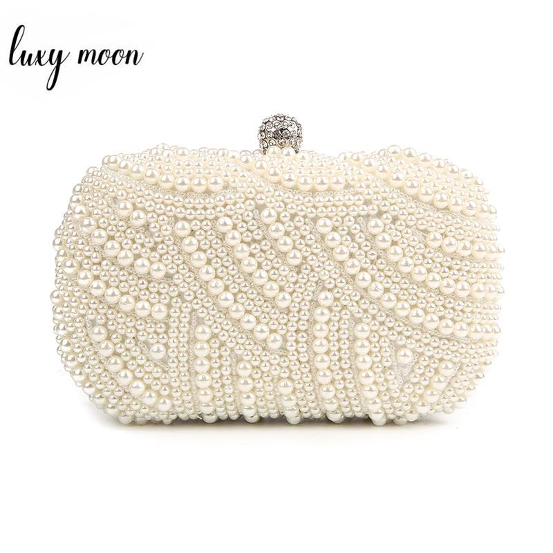 Luxury Pearl Clutch Bags Women Purse Diamond Ladies Hand Bags 2019 White Evening Bags For Party Wedding Black Bolsa Feminina