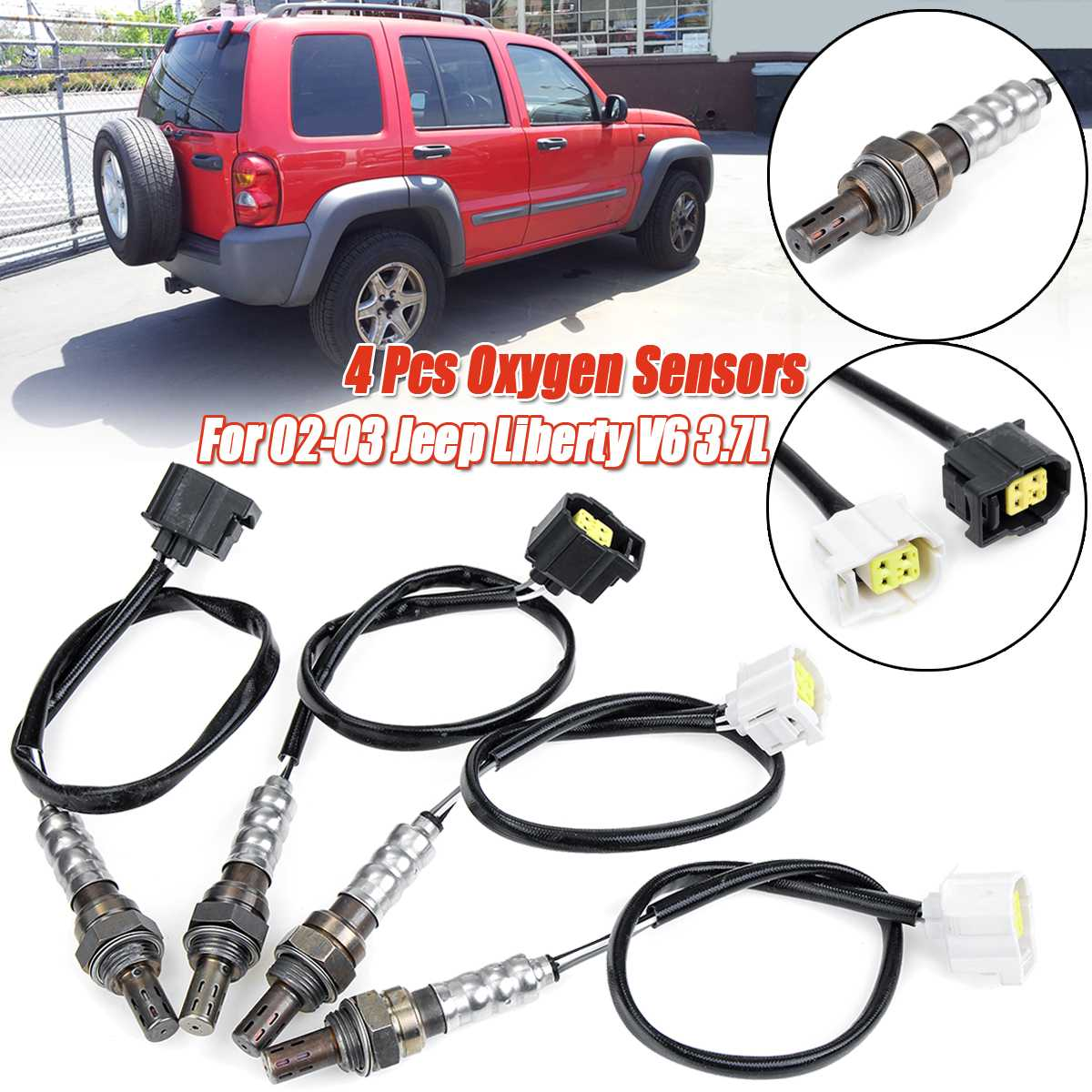 4Pcs Upstream & Downstream Oxygen O2 Sensor For Jeep Liberty V6 3.7L 2002 2003 234-4217 234-4228 234-4772 234-4228 56041953AA
