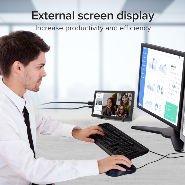 Eviciv Dual Screen Laptop 7 Inch PC Computer Second Monitor IPS 60Hz Portable Display for Switch Xbox PS4 Game Console HDMI USB 4