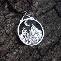 SanLan 12pcs mountain necklace pine tree camping car jewelry under the moon
