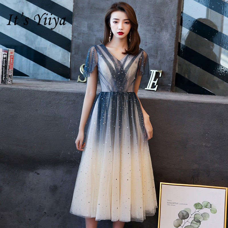 It's Yiiya   Prom     Dress   2019 Sexy Plus Size V-neck   Dresses   Women Party Night Short Sleeve A-Line Knee-Length Vestidos De Gala E778