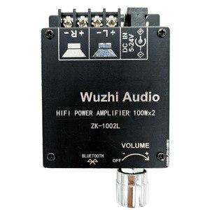Image 1 - ZK 1002L 100WX2 Mini Bluetooth 5.0 bezprzewodowy moc dźwięku wzmacniacz cyfrowy pokładzie podwójne kanały amplituner Stereo DC 12V 24V