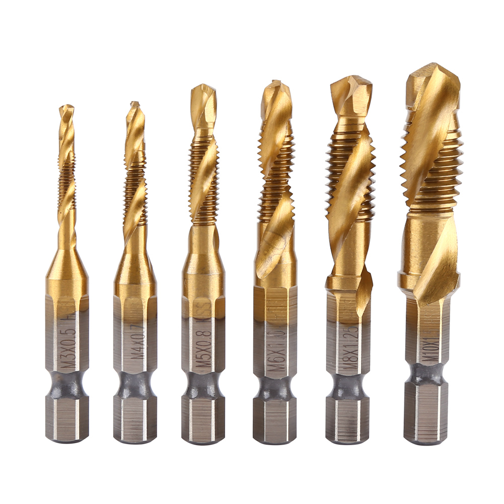 6PCS/set M3-M10 Metric Taps Screw Taps HSS Titanium Coated Drill Tap Bits 1/4