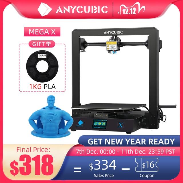 Anycubic Mega X Mega Series 300*300*305มม.3Dเครื่องพิมพ์การพิมพ์ขนาดใหญ่ขนาดแหล่งจ่ายไฟMeanwell Ultrabase 3d Impressora