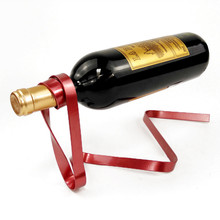 Magic Floating Colored Ribbon Wine Bottle Holder Rack Stand Bracket Art Wine Rack Bar Tool Kitchen Storage Kitchen Holder #N resin wine girl wine rack best bottle holder egyptian goddess wine stand accessories home bar decor wine holder gift