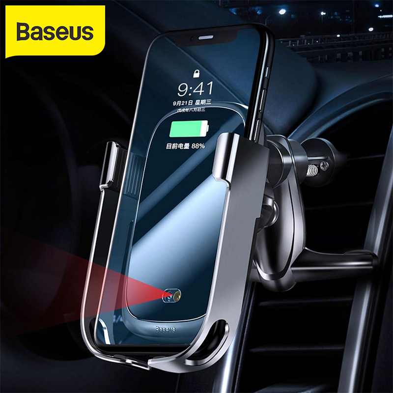 Baseus 10w car qi wireless charger for iPhone X Samsung S10 S9 S8  car wireless charger intelligent infrared car mountCar Chargers   -