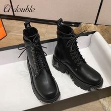 U-DOUBLE marka Punk Style platforma kobiety botki damskie buty motocyklowe moda damska Chunky buty metalowa ozdoba duży rozmiar 42