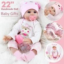 NEUE 55CM Puppe Reborn Puppen für Kinder Spielzeug Kleinkind Lebensechte Vollen Körper Silikon Nette Rosa Mädchen Baby Puppe mit kleidung