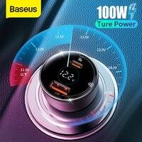 Baseus PD 100W Auto Ladegerät Quick Charge QC 4,0 QC 3,0 PD 3,0 Schnelle Lade Für iPhone 12 Pro max Samsung XiaoMi Auto Telefon Ladegerät
