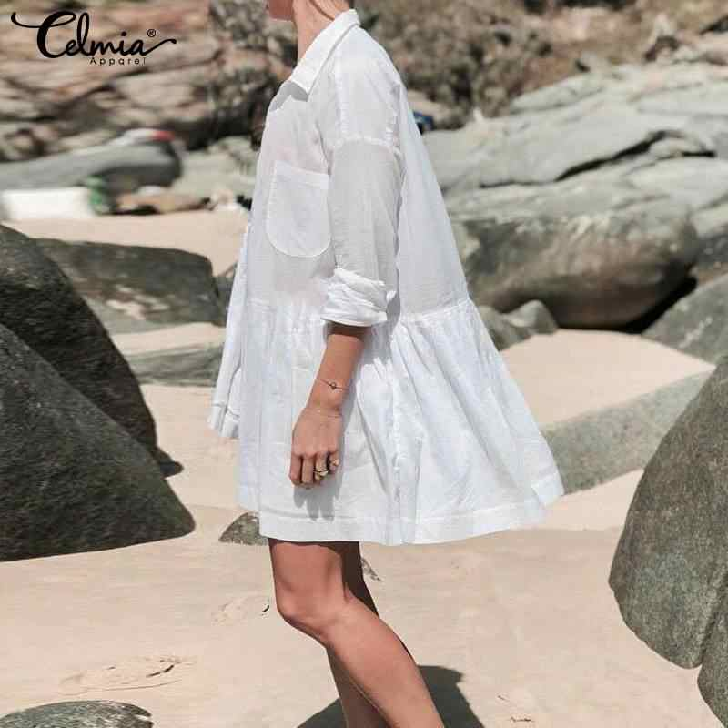 , Kobiety, jesień, na co dzień, z długim rękawem koszulka solid sukienka Celmia 2019 w stylu Vintage luźne Sexy klapy plisowana Mini sukienka eleganckie Party Vestidos
