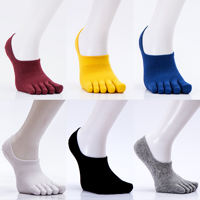 Cotton Socks Solid Color Boat Socks Women Men Black White Red Sweat Toe Socks Invisible Funny Five-finger Socks High Quality New