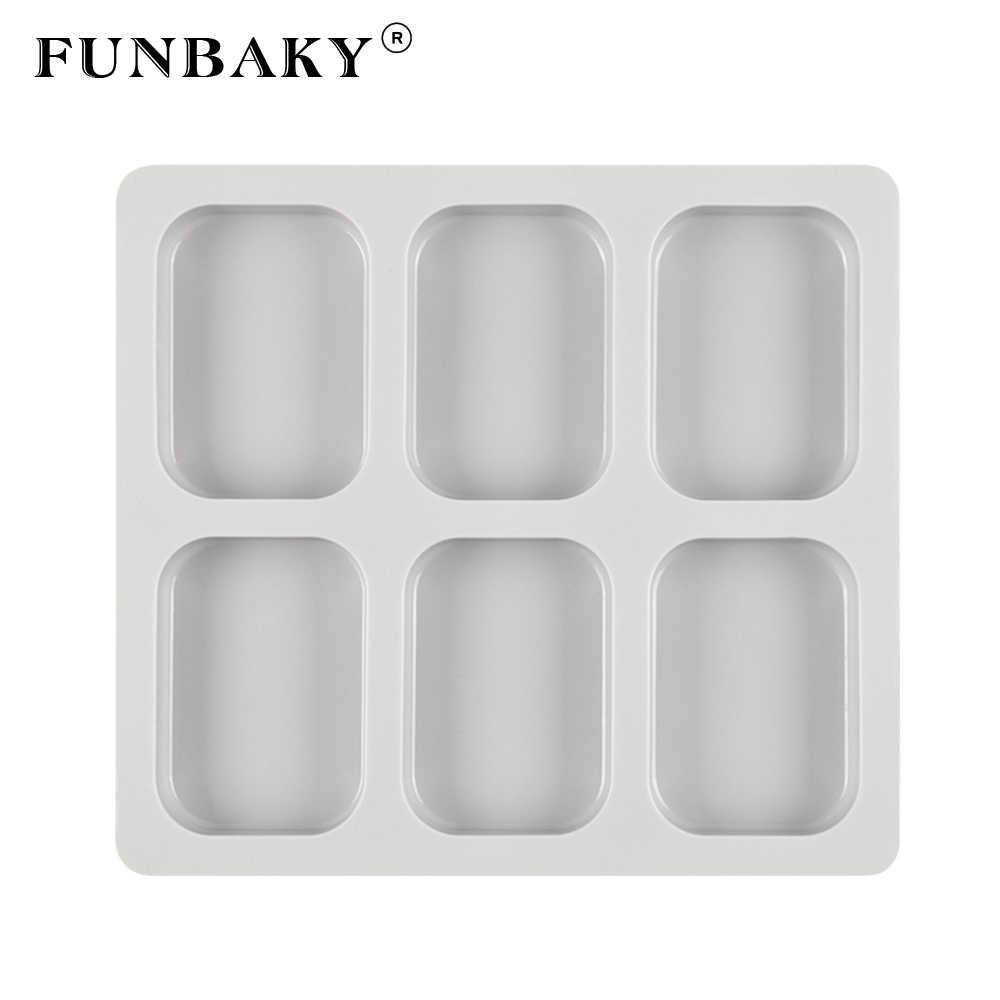 FUNBAKY 6 отверстий Большое Квадратное мыло, силиконовая форма формы DIY кухонные инструменты ручная работа Производство Мыла ремесленные формы