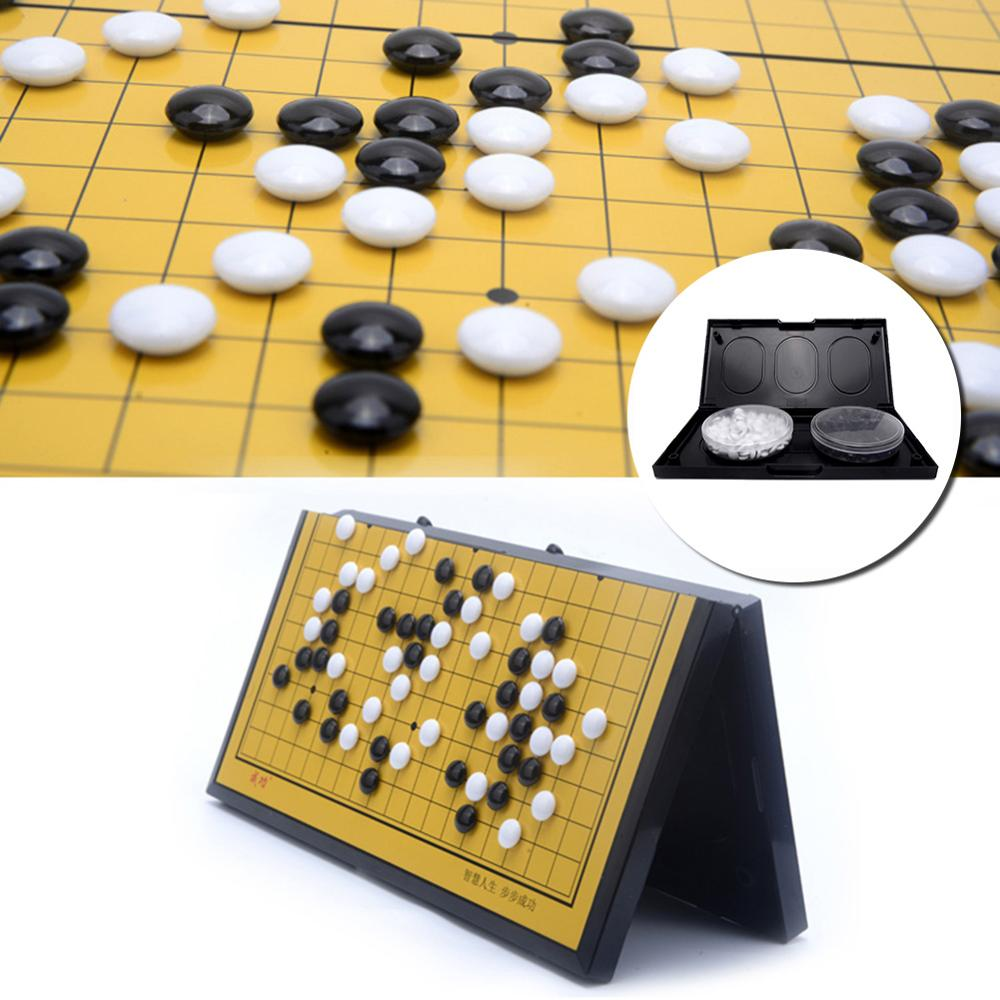 Portable Magnetic Go Game Set With Single Convex Magnetic Plastic Stones Set Go Board For Party Travel Fishing Kid Toy Gifts2020