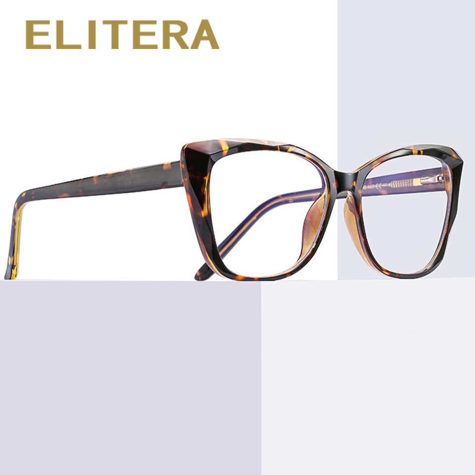 ELITERA Cat Eye TR90 Anti-Blue Light Glasses Women Computer Spring Goggles Black Leopard Eyeglasses женские очки для компьютера