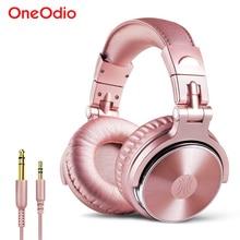 Oneodio estúdio profissional fones de ouvido com microfone super bass 50mm driver alta fidelidade com fio dj fone de ouvido para gravação monitoramento