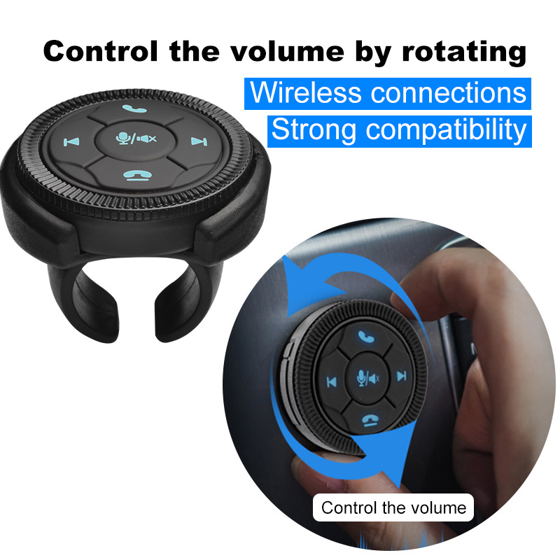 Eunavi Universal Car Steering Wheel Controller 7Key Wireless Steering Wheel Car Radio Remote Control Buttons