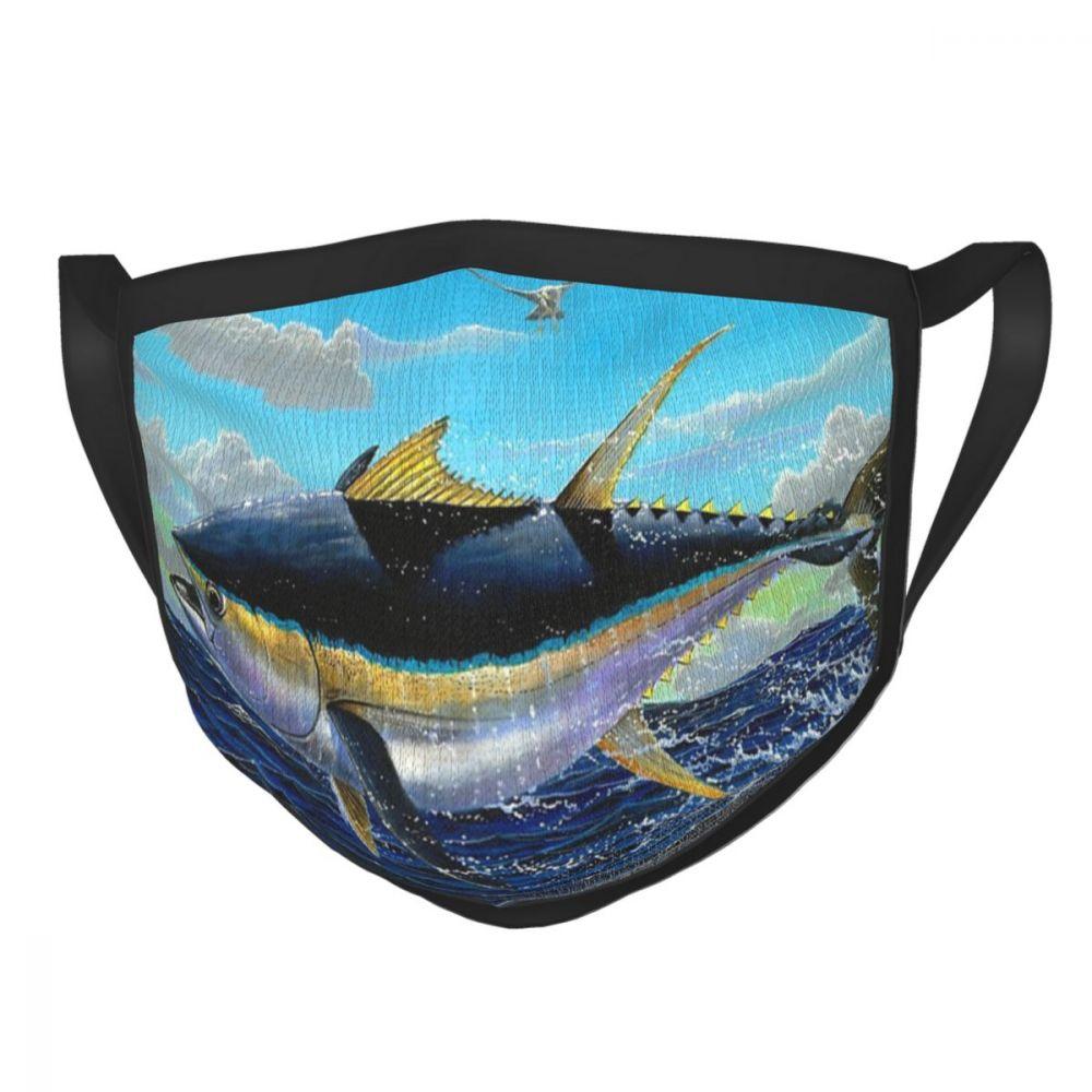 Yellowfin Crash многоразовая маска для лица с морским океаном, морскими волнами, рыболовная противодымчатая маска, защитная маска, респиратор, муф...