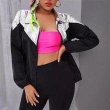 Spring Autumn Women Windbreaker Jacket Female Black Patchwork Fashion J