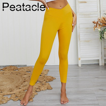 Peatacle Solid Leggings High Waist Yoga Pink Grils Elastic New Sexy Pants Leggins Gym Workout Fitness Trousers Plus Size