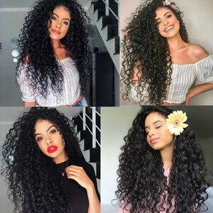 Image 5 - FAVE שחור תחרה מול 1.5*30 ארוך האפרו קרלי עמיד בחום סיבי שיער עבור שחור נשים יומי המפלגה אפריקאית סינטטי פאות