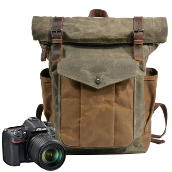 Photography Waterproof Canvas Retro Camera Backpack Men Travel Casual Bag Case for Canon Nikon Sony DSLR SLR