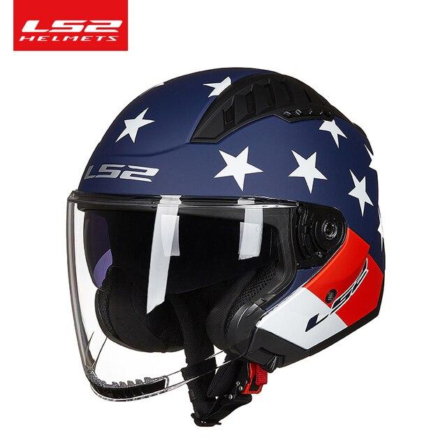 Ban Đầu LS2 COPTER Retro Moto Rcycle Mũ Bảo Hiểm Có Hai Ống Kính Xe Tay Ga Người Phụ Nữ Vintage Capacete Ls2 Of600 Mở Mặt Casco moto