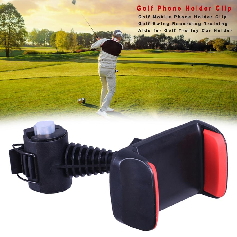 Golf Mobile Phone Holder Clip Golf Swing Recording Training Aids For Golf Trolley Car Holder Easy To Use 360 Degrees Adjustment