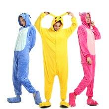 Кигуруми Женский фланелевый Пижамный костюм с единорогом для взрослых, теплая мягкая Пижама, зимний комбинезон, пижама для косплея