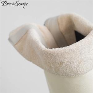 Image 5 - Buono Scarpe Genuine Leather Pleated Fashion Boots Brand Designed Zipper Boots Chunky Botas Fenimina Leather Shoes Zapatos Mujer
