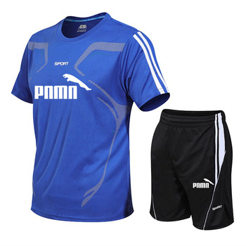 Summer Casual Male Tracksuit Clothing Men Set Fitness Suit Sporting Suits Short Sleeve T Shirt + Shorts Quick Drying 2 Piece Set