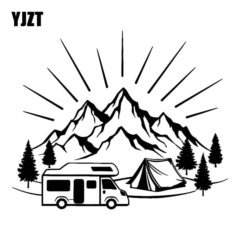 YJZT 18.3CM*14.8CM Camping Tent Travel Mountains Landscape Fashion Car-Styling Stickers Decals Vinyl Black/Silver C31-0303
